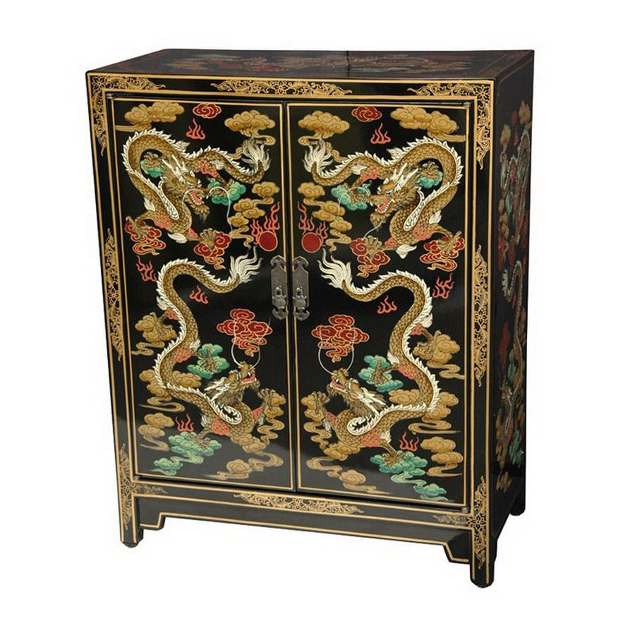 Shop oriental furniture lacquer black lacquer 1 shelf for Chinese furniture