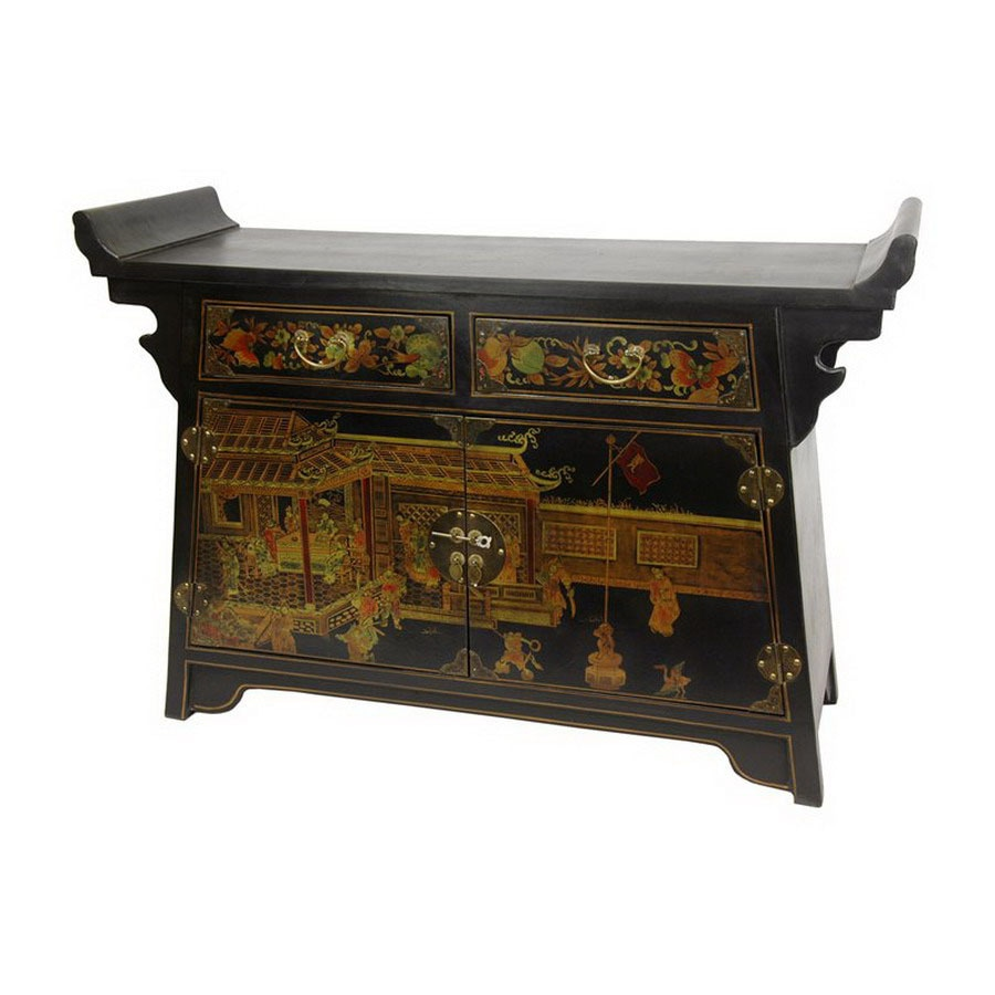 Shop oriental furniture lacquer black lacquer 2 shelf for Chinese black lacquer furniture