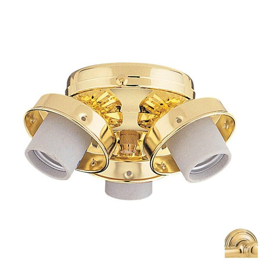 Nicor Lighting 3-Light Polished Brass Ceiling Fan Light Kit