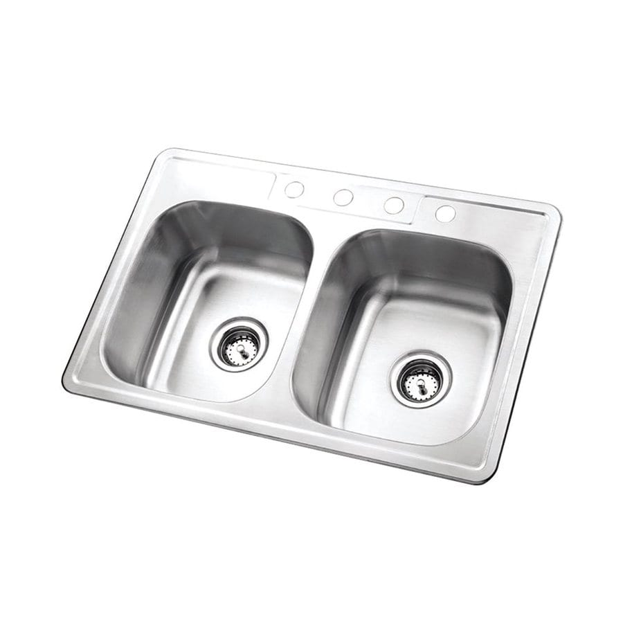 Elements of Design Gourmetier 22-in x 33.062-in Brushed Nickel Double-Basin Stainless Steel Drop-In Kitchen Sink