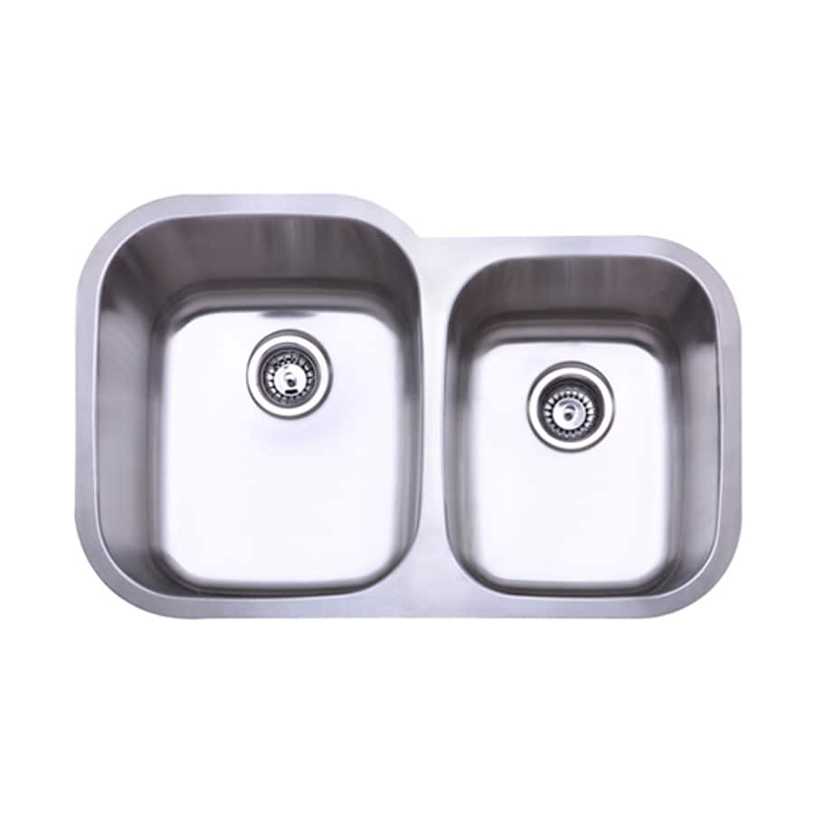 Elements of Design Gourmetier 20.5-in x 31.5-in Brushed Nickel Double-Basin Stainless Steel Undermount Kitchen Sink