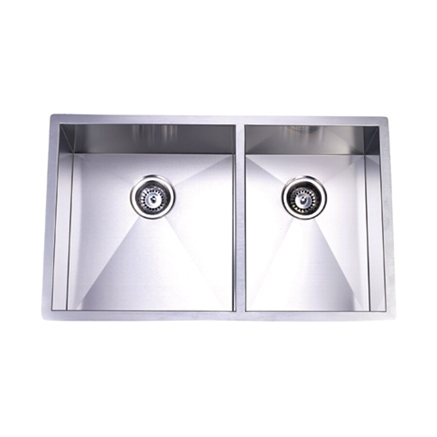 Elements of Design Gourmetier 20.06-in x 33-in Brushed Nickel Double-Basin Stainless Steel Undermount Kitchen Sink