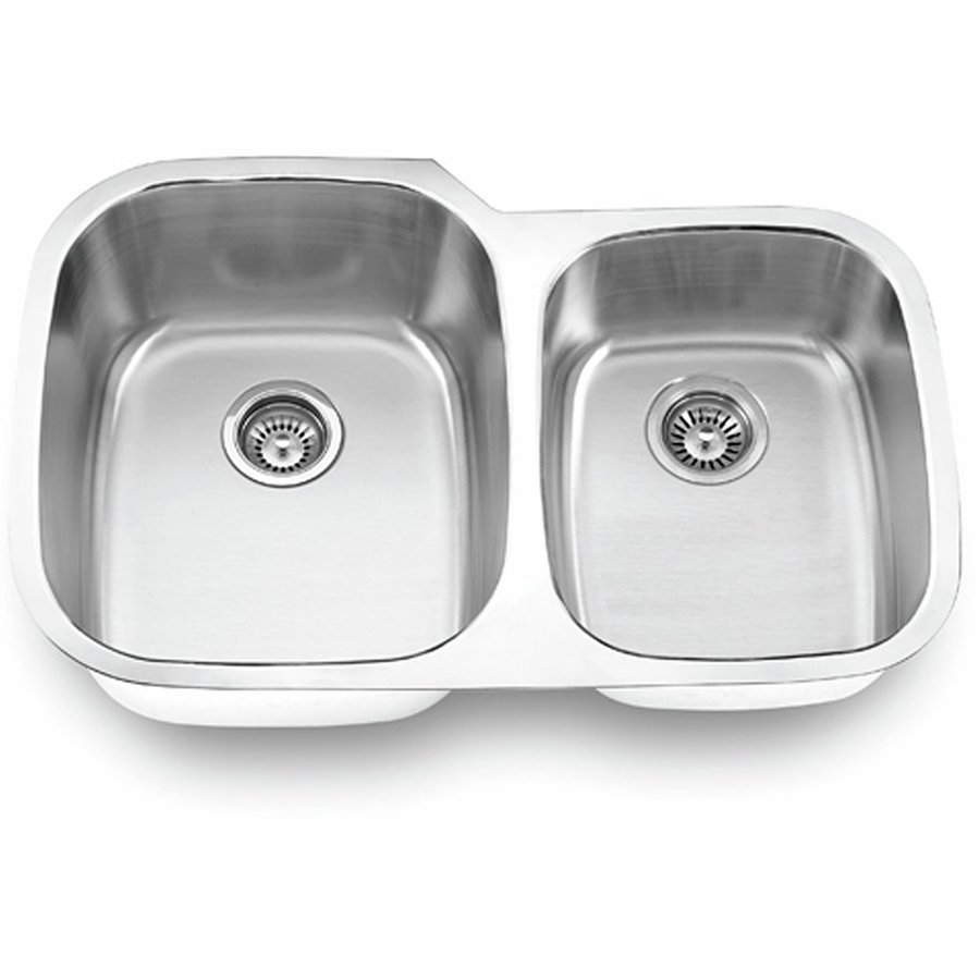 Yosemite Home Decor 32-in x 20.5-in Satin Stainless-Steel Double-Basin Undermount Commercial Kitchen Sink