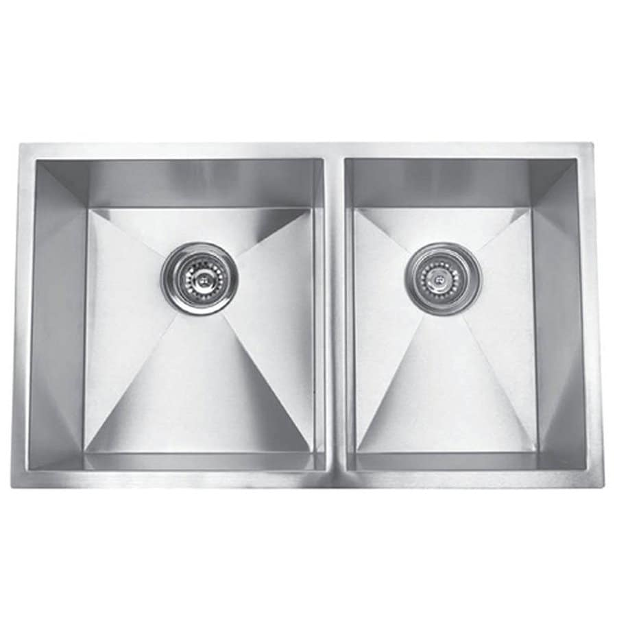 Yosemite Home Decor 32-in x 19-in Satin Stainless-Steel Double-Basin Undermount Commercial Kitchen Sink