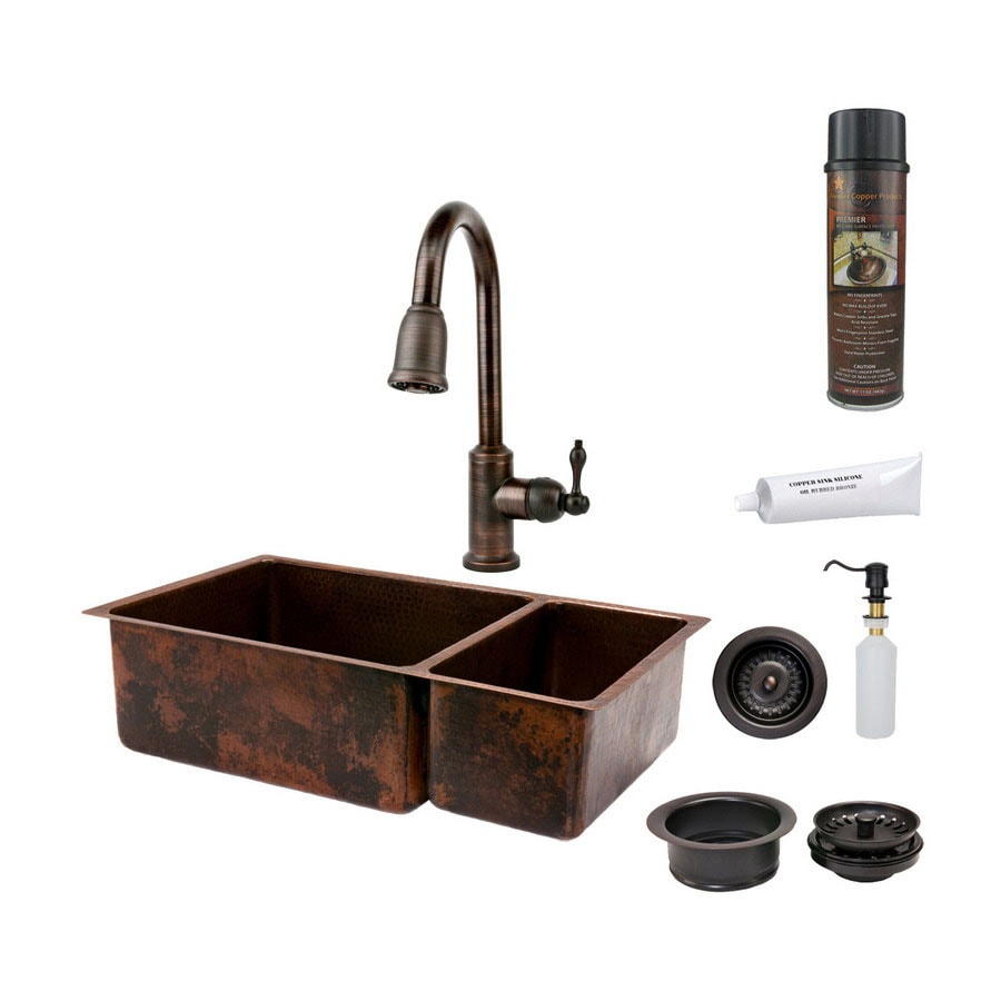 Premier Copper Products 19-in x 33-in Oil-Rubbed Bronze Double-Basin Copper Undermount Kitchen Sink