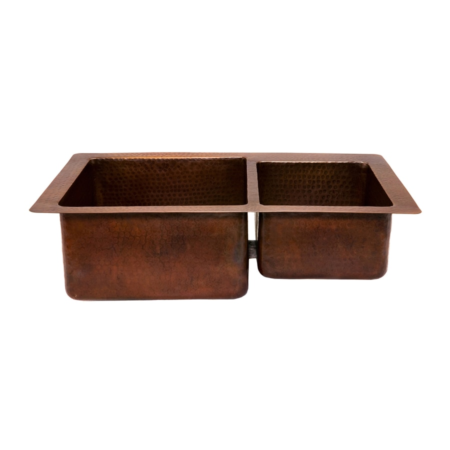Premier Copper Products 22-in x 33-in Oil-Rubbed Bronze Double-Basin Copper Drop-In or Undermount Residential Kitchen Sink