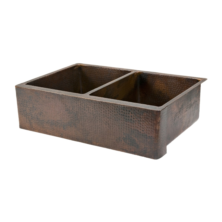 Premier Copper Products 22-in x 33-in Oil-Rubbed Bronze Double-Basin Copper Apron Front/Farmhouse Residential Kitchen Sink