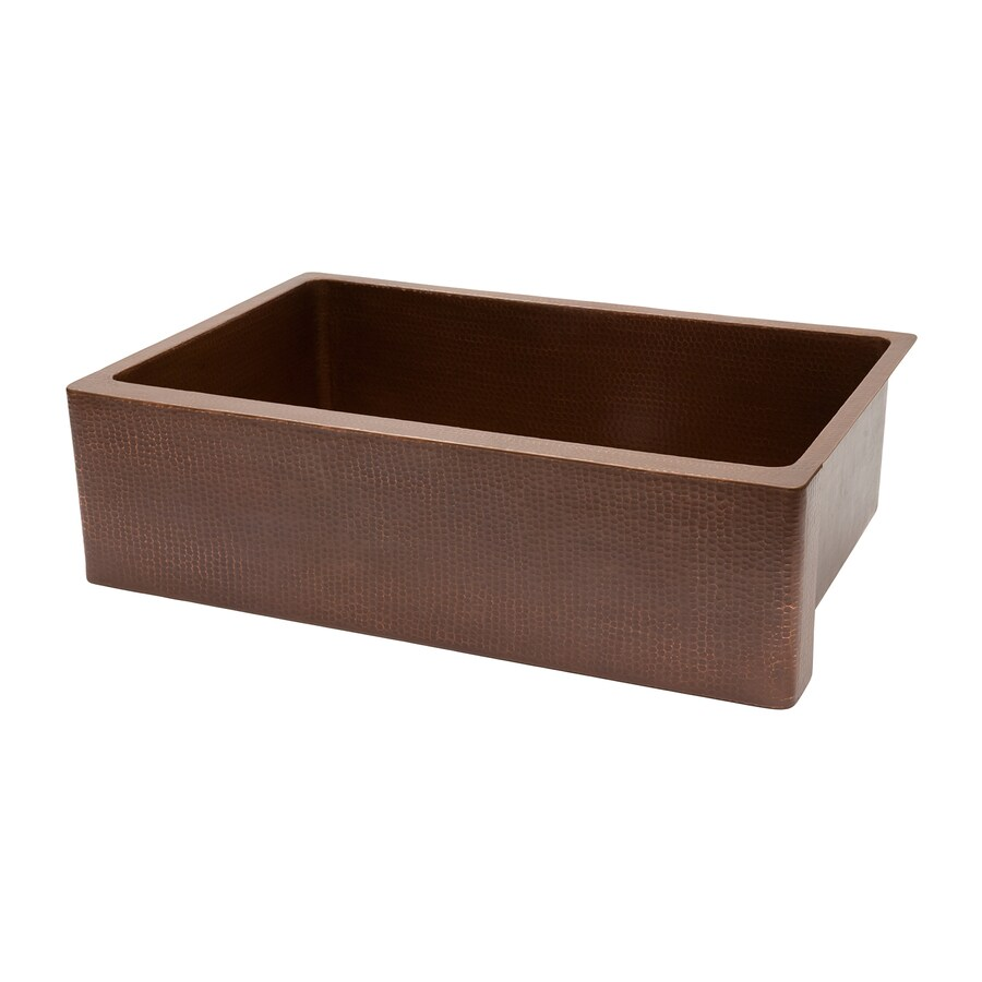 Premier Copper Products 22-in x 33-in Antique Copper Single-Basin Copper Apron Front/Farmhouse Residential Kitchen Sink