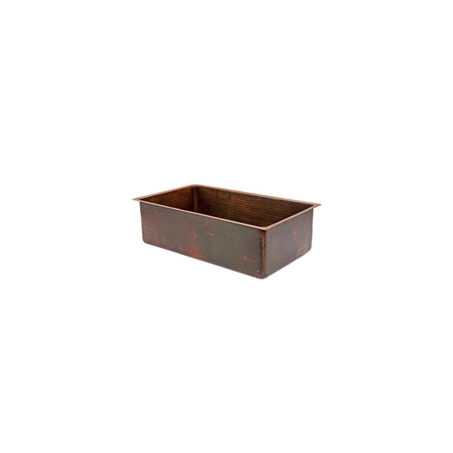 Premier Copper Products 19-in x 30-in Oil-Rubbed Bronze Single-Basin Copper Undermount Kitchen Sink