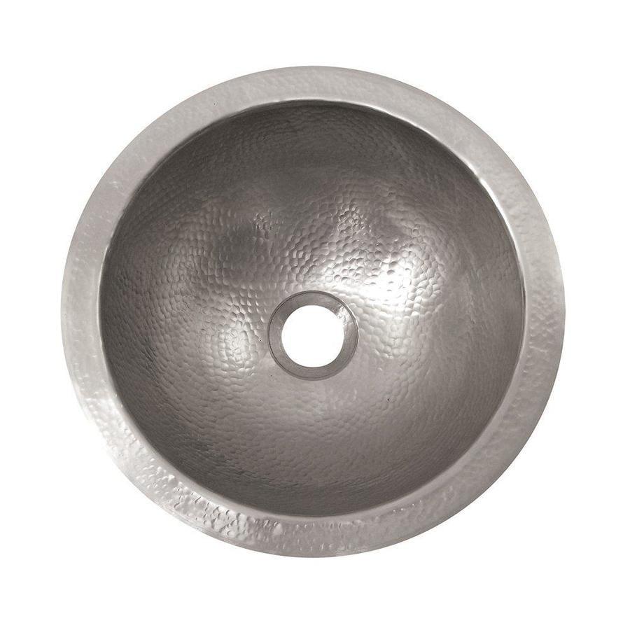 The Copper Factory Artisan Satin Nickel Copper Undermount Round Bathroom Sink with Overflow