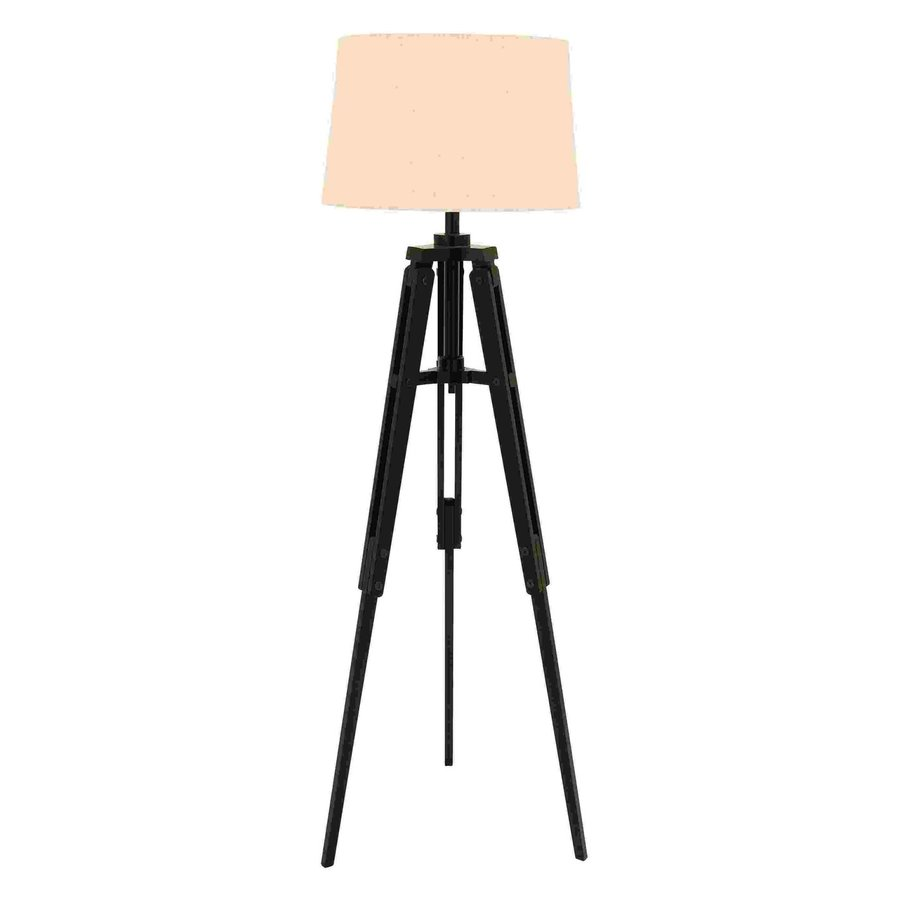 Woodland Imports 62-in Dark Brown Tripod Indoor Floor Lamp with Fabric Shade