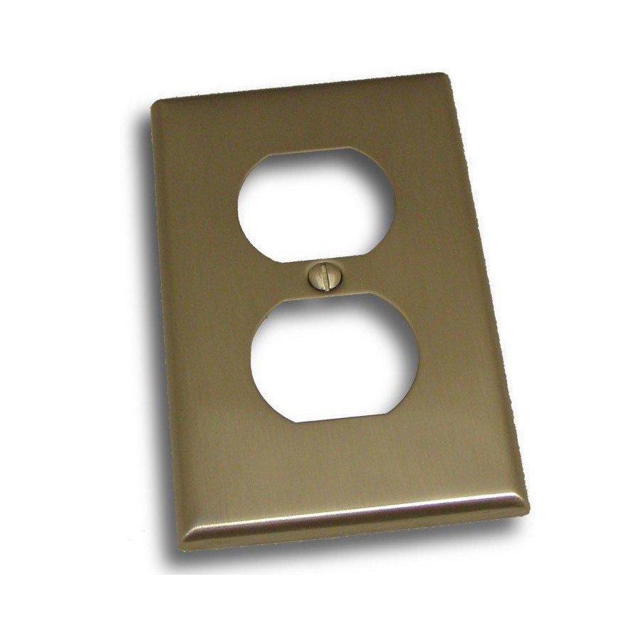 Residential Essentials 1-Gang Satin Nickel Single Duplex Wall Plate