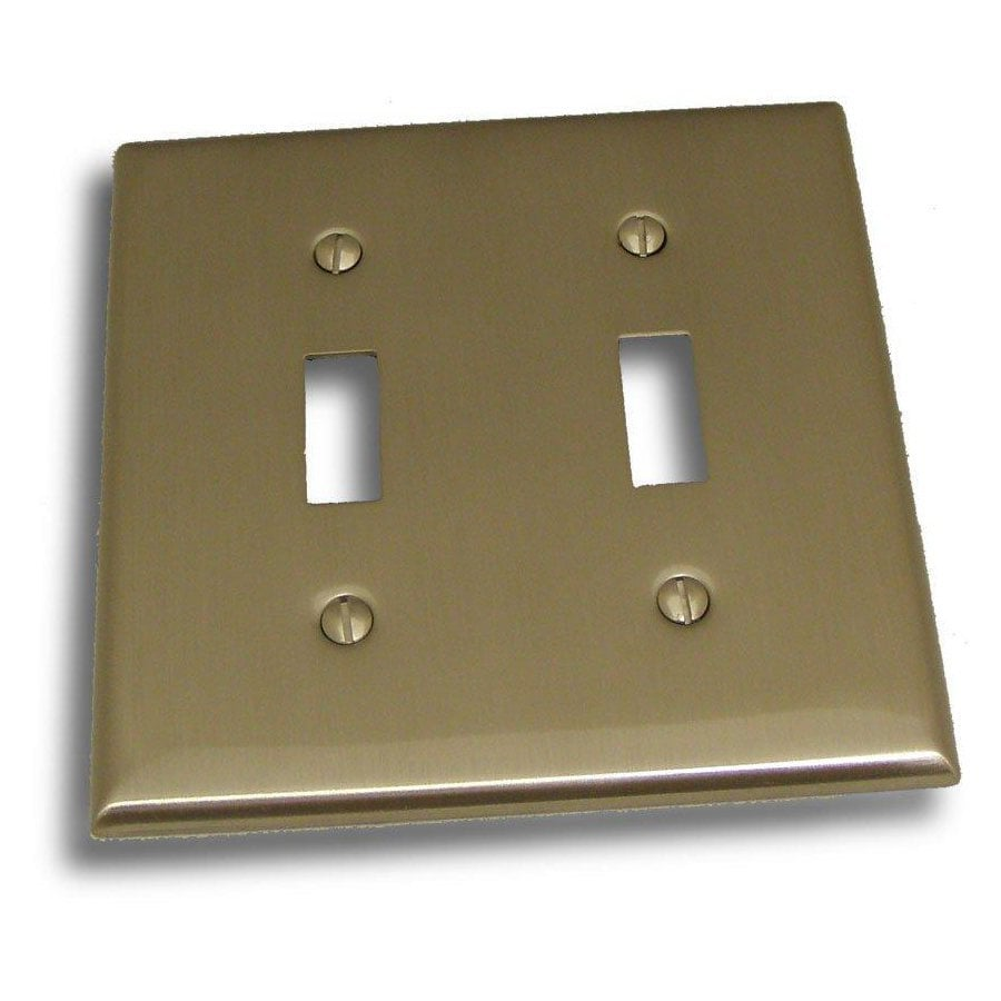 Residential Essentials 2-Gang Satin Nickel Double Toggle Wall Plate