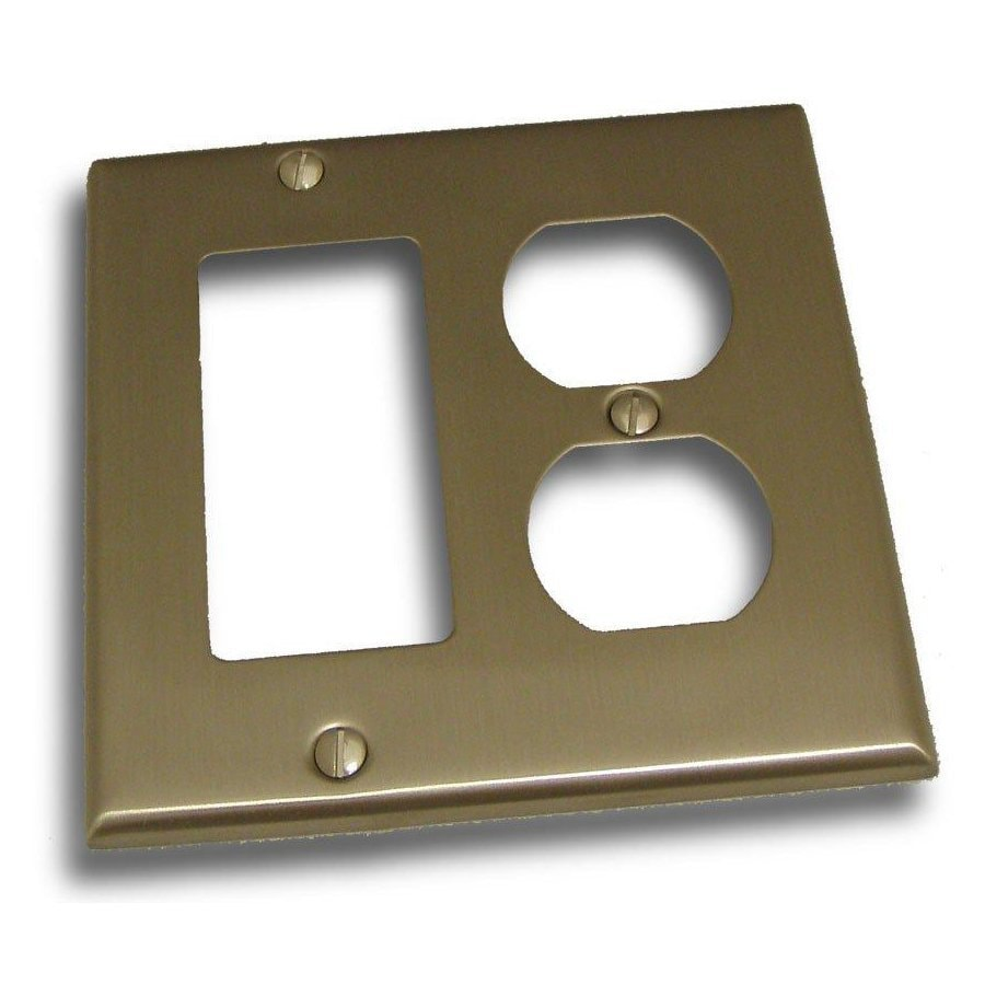 Residential Essentials 2-Gang Satin Nickel Double Duplex/Decorator Wall Plate