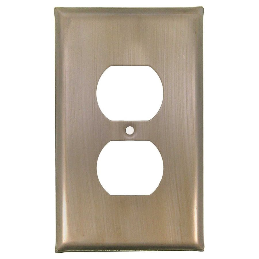 Anne at Home 1-Gang Pewter with Bronze Wash Single Duplex Wall Plate