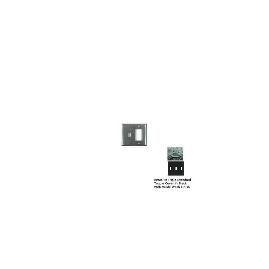 Anne at Home 3-Gang Black with Verde Wash Standard Toggle Pewter Wall Plate
