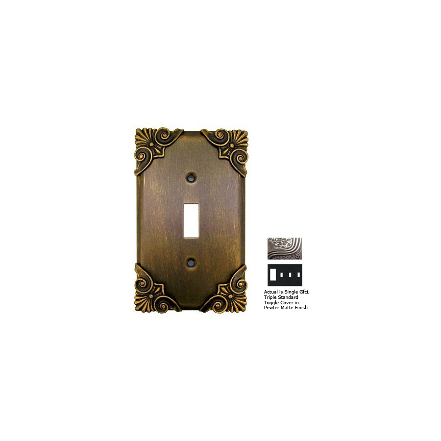 Anne at Home Corinthia 4-Gang Pewter Matte Combination Pewter Wall Plate