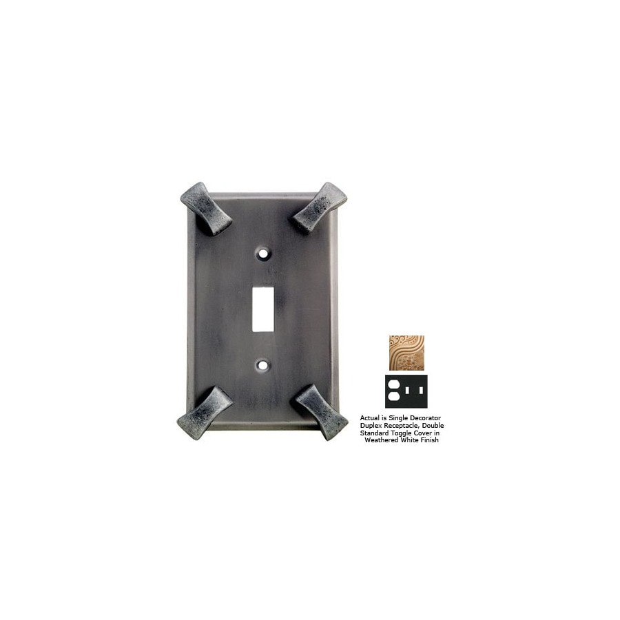 Anne at Home Hammerhein 3-Gang Weathered White Combination Pewter Wall Plate