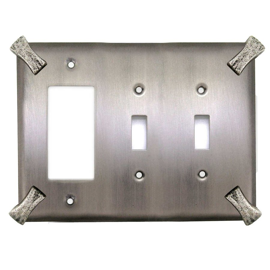 Anne at Home 3-Gang Matte Pewter Triple Toggle/Decorator Wall Plate
