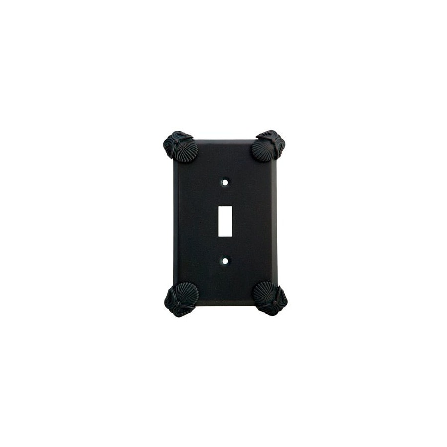 Anne at Home Oceanus 1-Gang Black with Verde Wash Standard Toggle Pewter Wall Plate