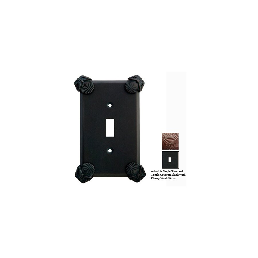 Anne at Home Oceanus 1-Gang Black with Cherry Wash Standard Toggle Pewter Wall Plate