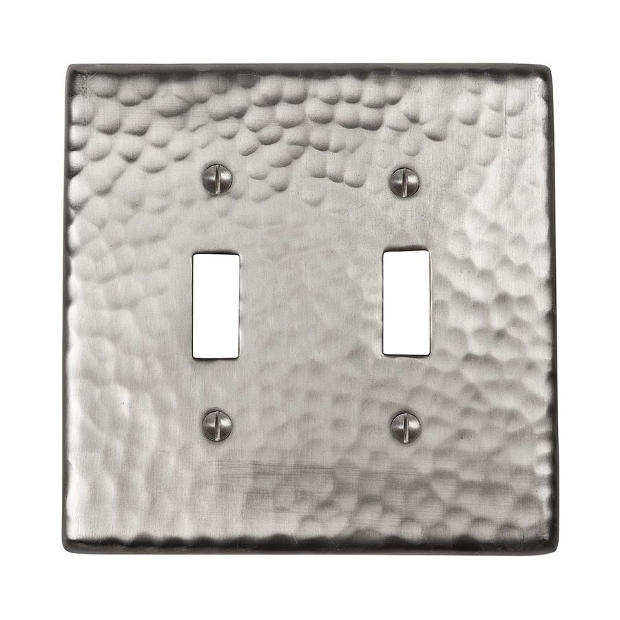 The Copper Factory Artisan 2-Gang Satin Nickel Double Toggle Wall Plate