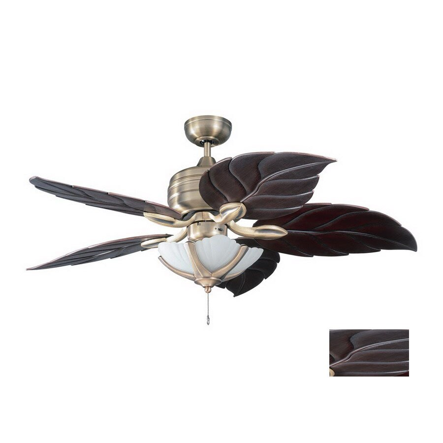 Kendal Lighting Copacabana 52-in Havana Brass Downrod Mount Indoor Ceiling Fan (5-Blade)