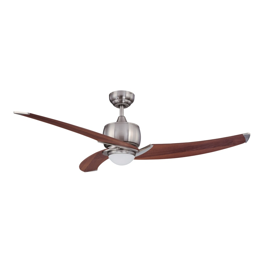 Kendal Lighting Treo 52-in Satin Nickel Downrod Mount Indoor Ceiling Fan with Light Kit and Remote (3-Blade)