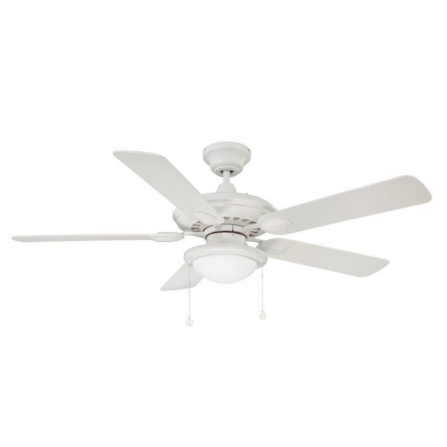 Kendal Lighting Builder's Choice 52-in White Downrod Mount Indoor Ceiling Fan with Light Kit (5-Blade)