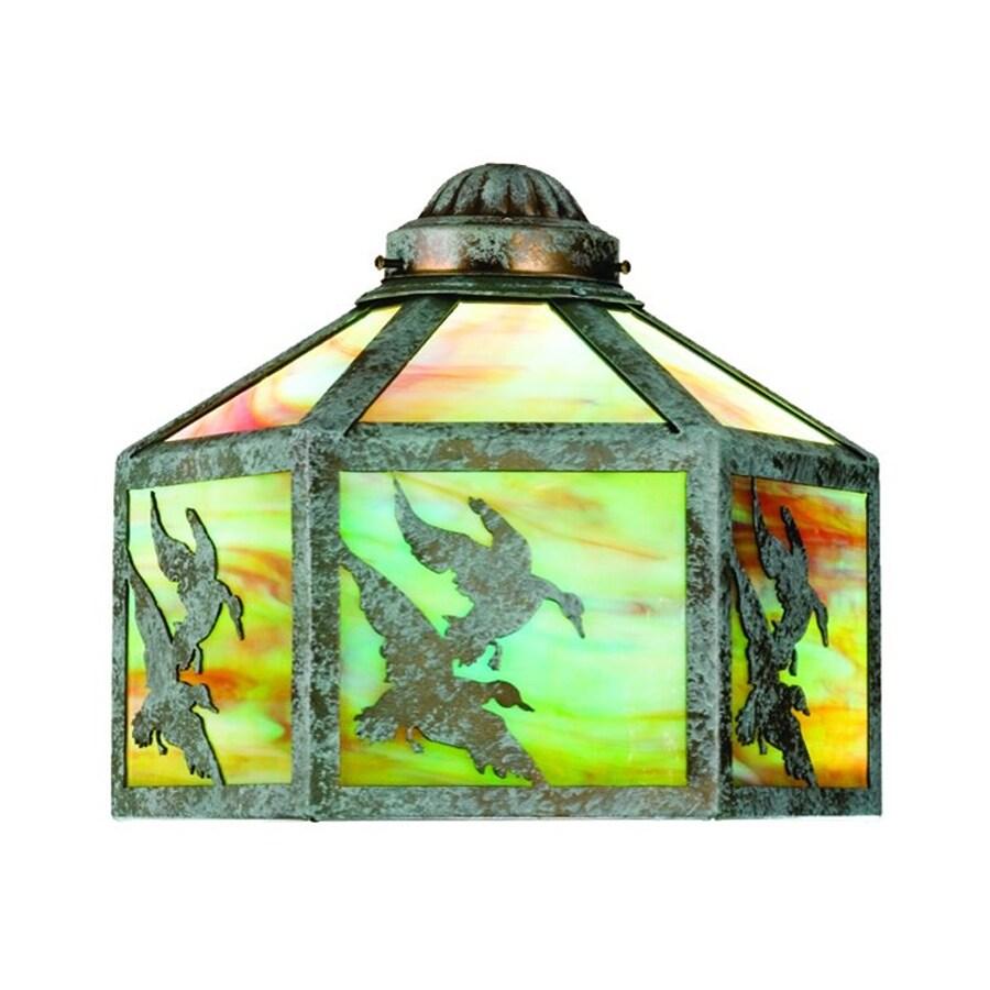 Meyda Tiffany Ducks In Flight 1-Light Verdi Green Incandescent Ceiling Fan Light Kit