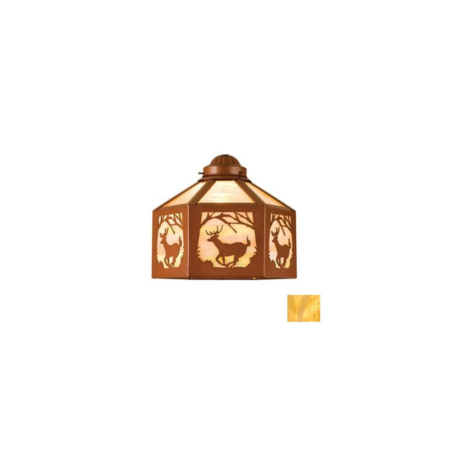 Meyda Tiffany 1-Light Rust Ceiling Fan Light Kit with Beige Glass