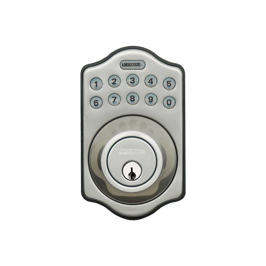 Lockstate Satin Nickel Single-Cylinder Motorized Electronic Entry Door Deadbolt with Keypad