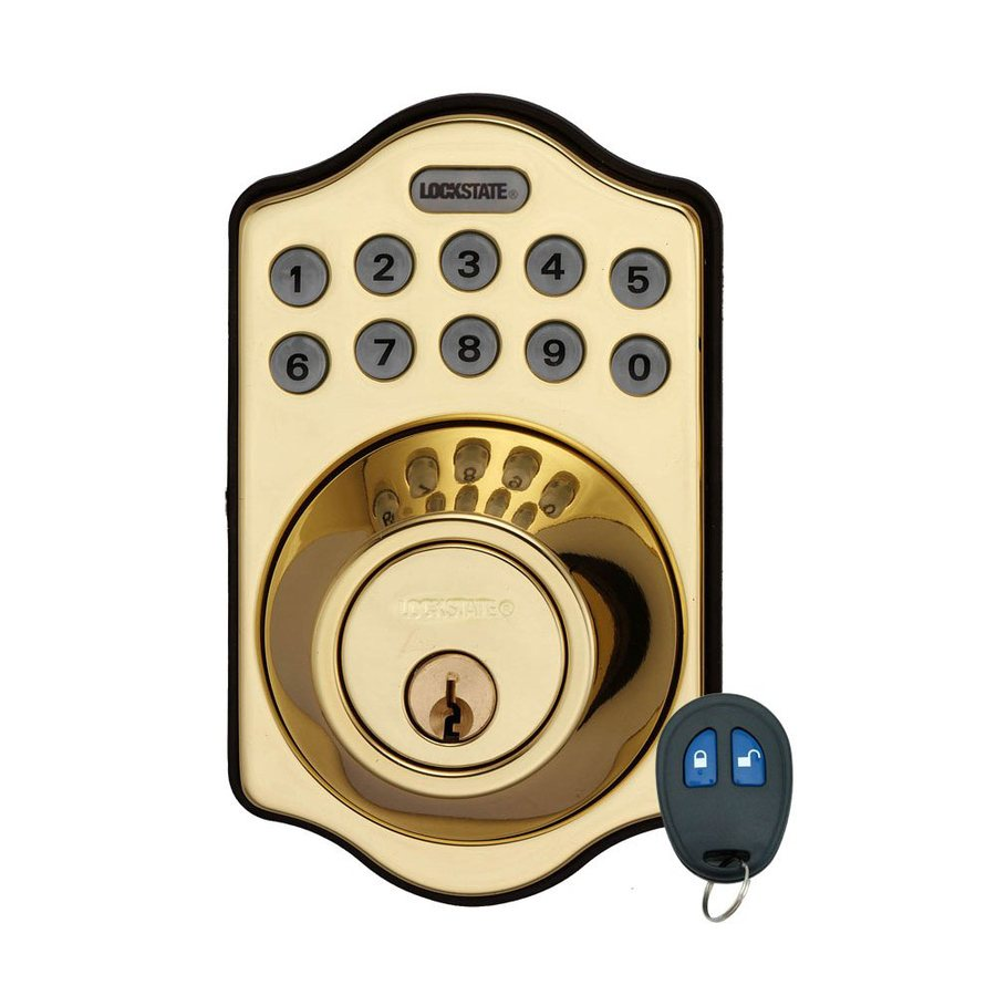 Lockstate Connect Polished Brass 1-Cylinder Motorized Electronic Entry Door Deadbolt with Keypad