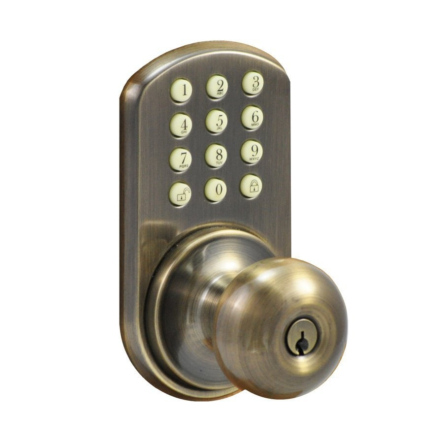 Morning Industry H-Series Antique Brass-Cylinder Electronic Entry Door Deadbolt with Keypad