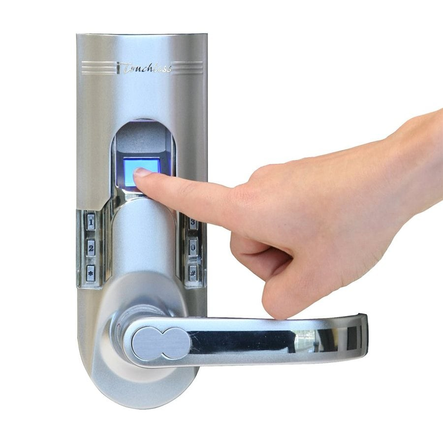 iTouchless Biomatic Silver Single-Cylinder Motorized Electronic Entry Door Deadbolt with Keypad