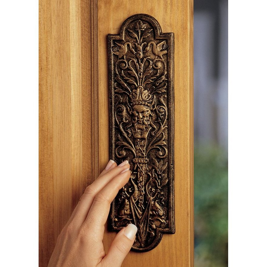 Design Toscano 3-in x 10.5-in Gold Tone Finish Greenman Entry Door Push Plate