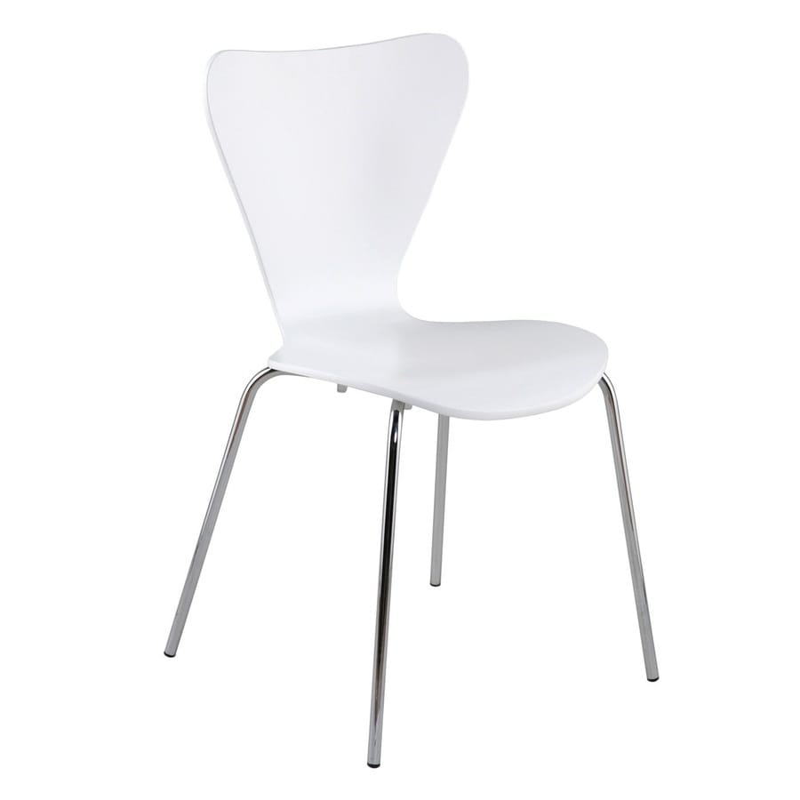 Eurostyle Set of 4 Tendy Chrome/White Stackable Side Chairs