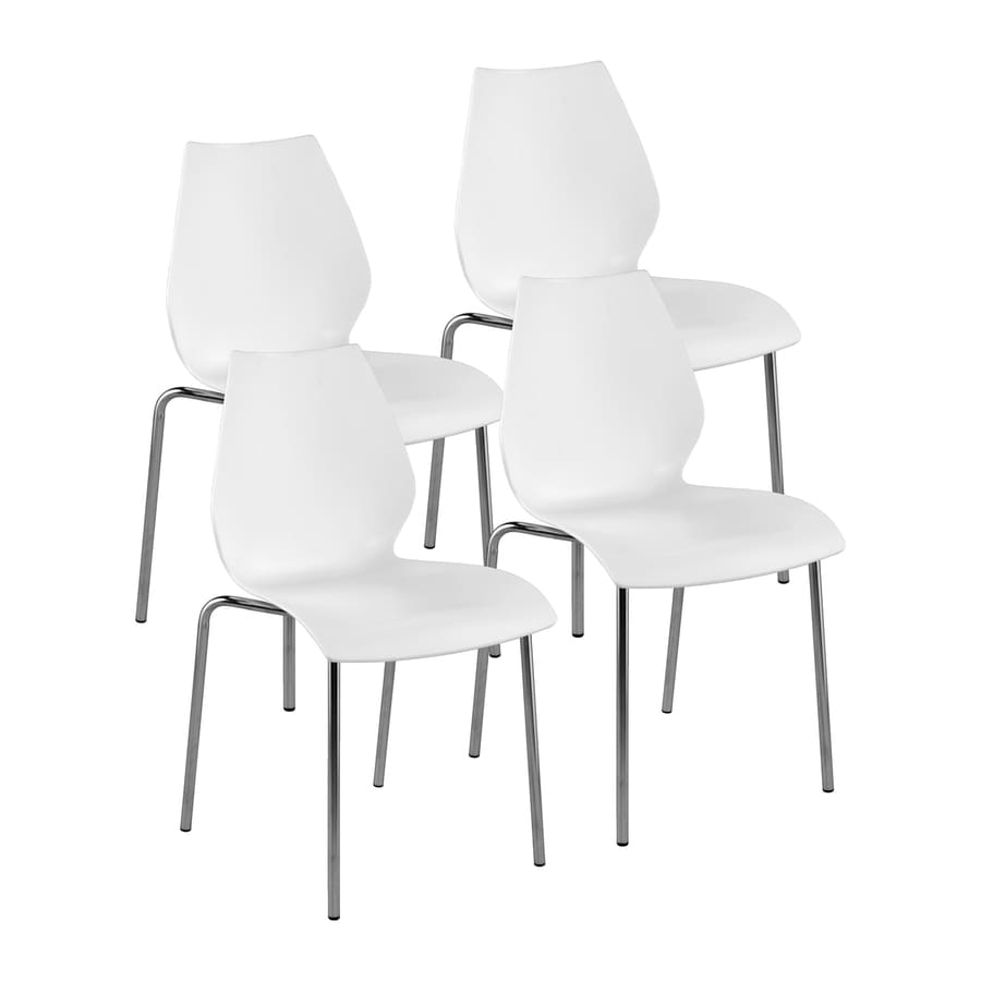 Eurostyle Set of 4 Lena Chrome Stackable Side Chairs
