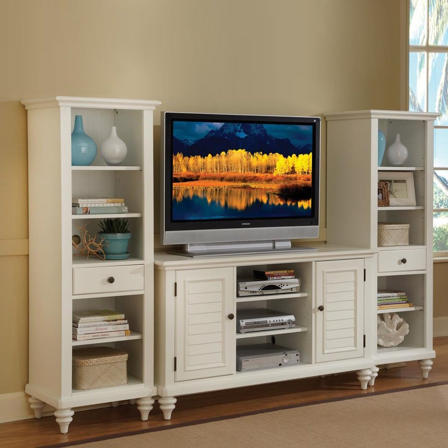 Home Styles Bermuda Textured Brushed White Rectangular Television Cabinet