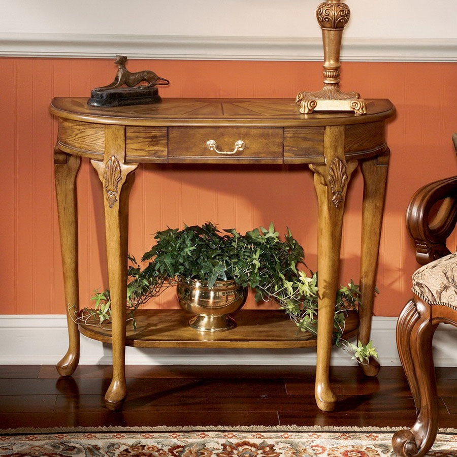 Butler Specialty Plantation Vintage Oak Half-Round Console and Sofa Table