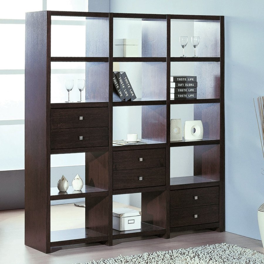 BH Design Wenge 69-in W x 76-in H x 15-in D 12-Shelf Bookcase