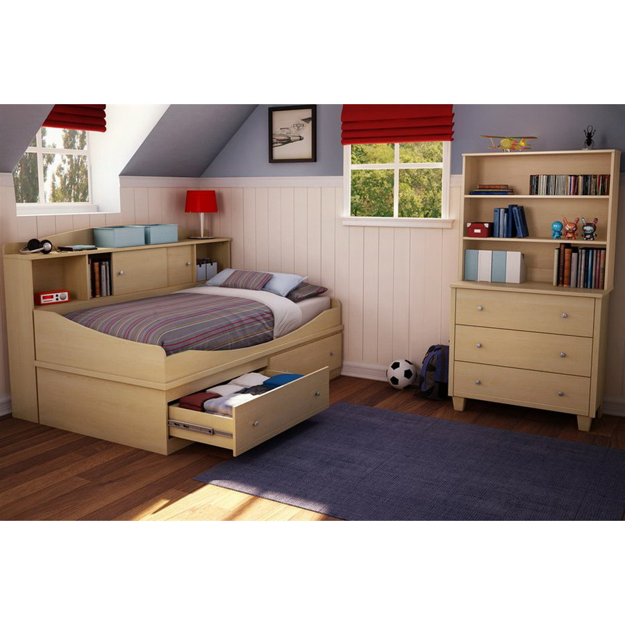 Shop south shore furniture clever room natural maple twin for Bedroom furniture 28117