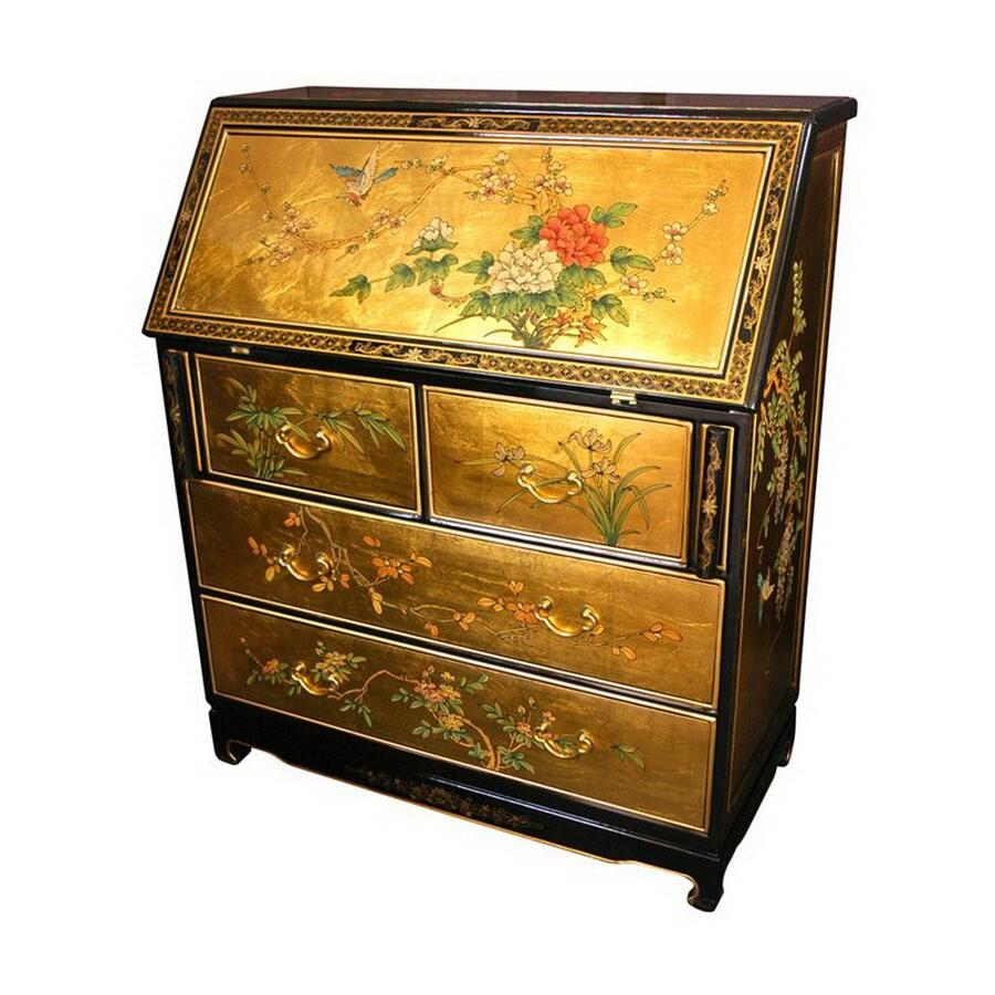 Oriental Furniture Gold Secretarial Desk
