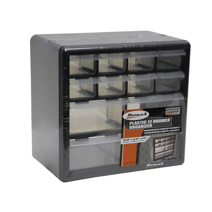 Homak 10.25-in x 9.5-in 12 Black Plastic Drawer