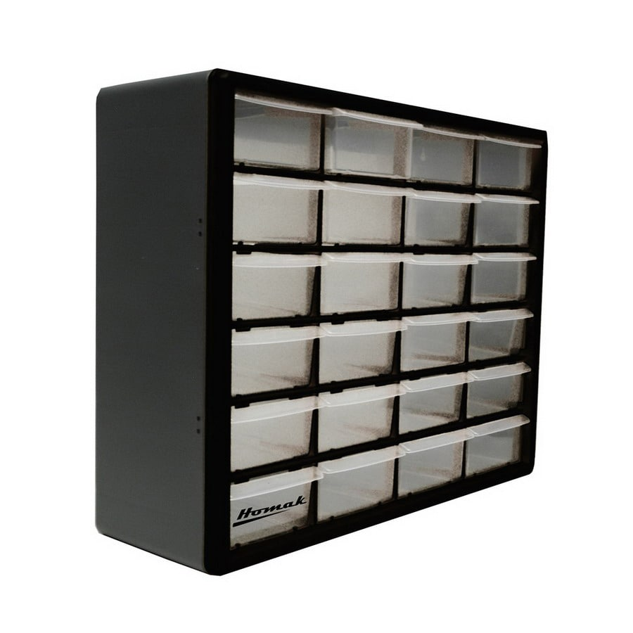 Homak 19.75-in x 15.625-in 24 Black Plastic Drawer