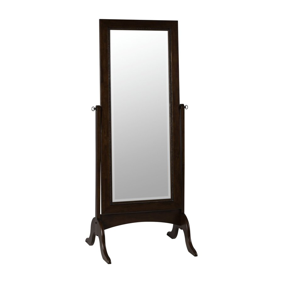 Cooper Classics Oakes Cheval 26.5-in x 68.5-in Tobacco Beveled Rectangle Framed Transitional Floor Mirror