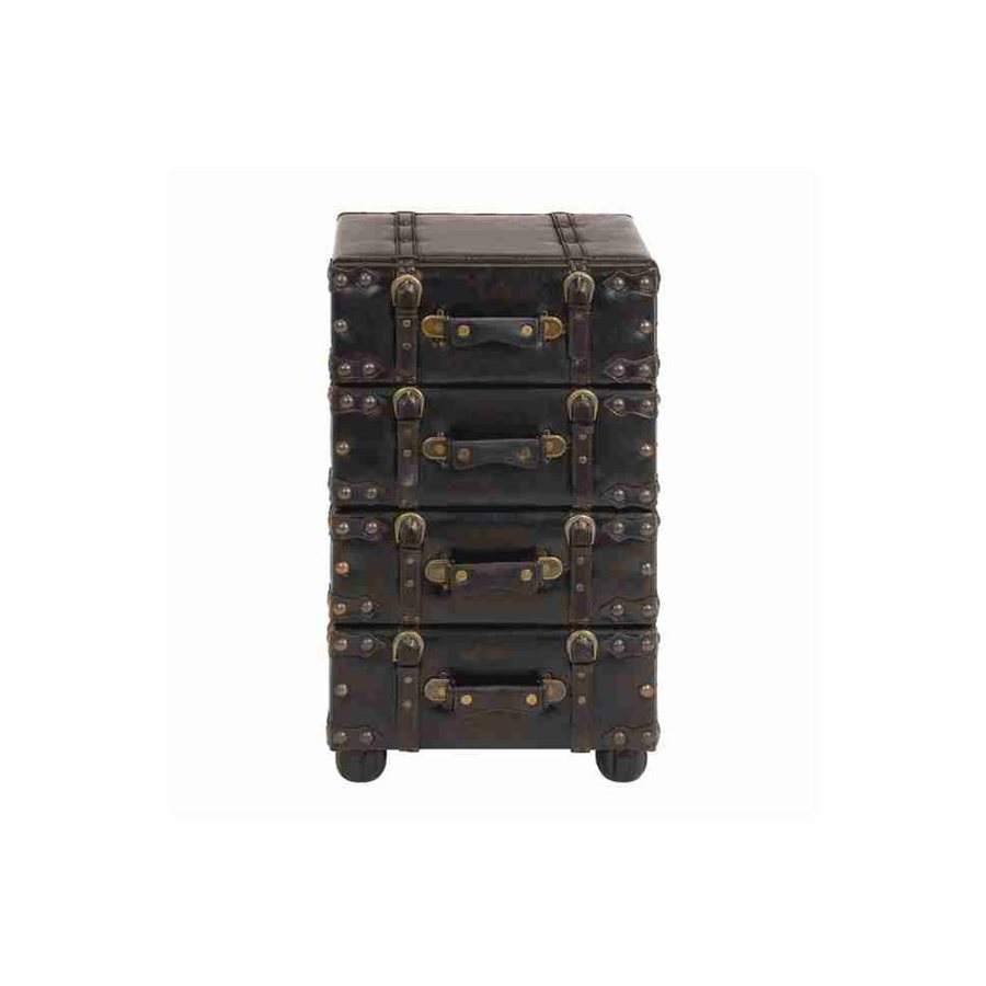 Woodland Imports Antiqued-Distressed Black Standard Chest