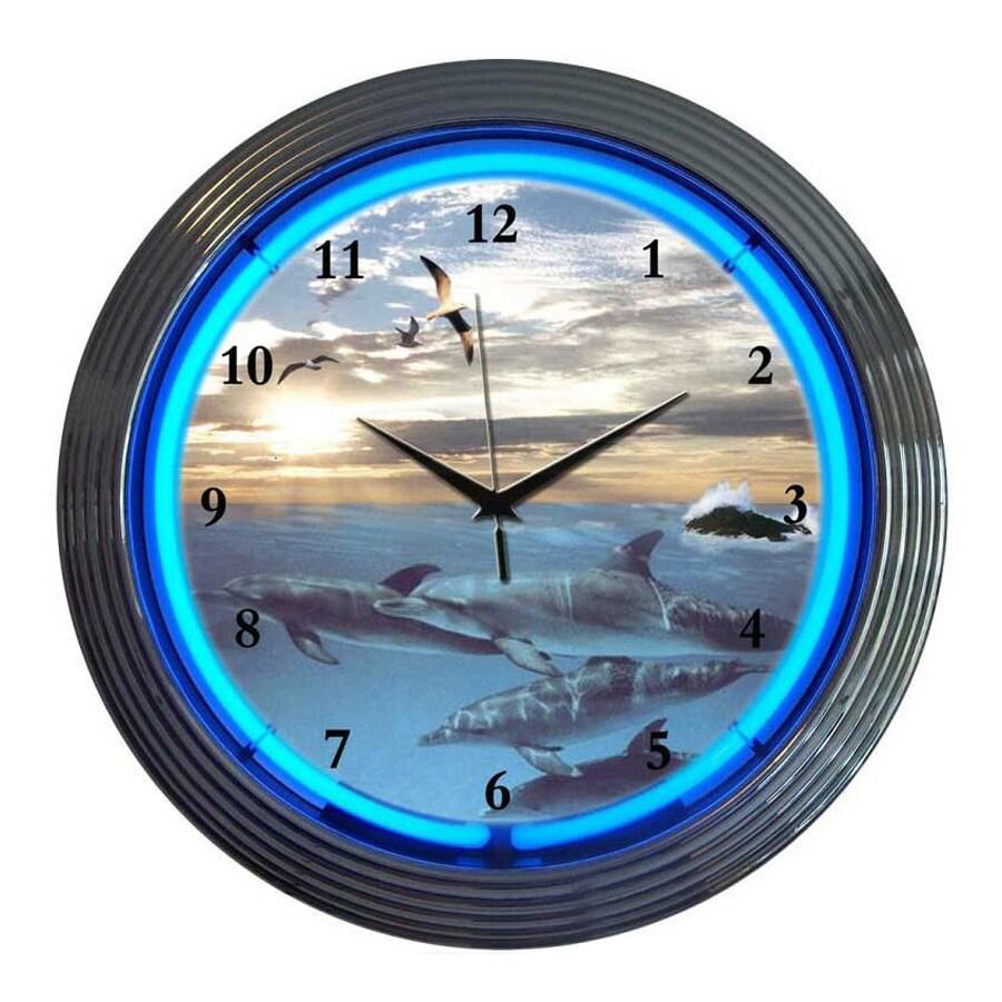 Neonetics Dolphins Sea Analog Round Indoor Wall Clock