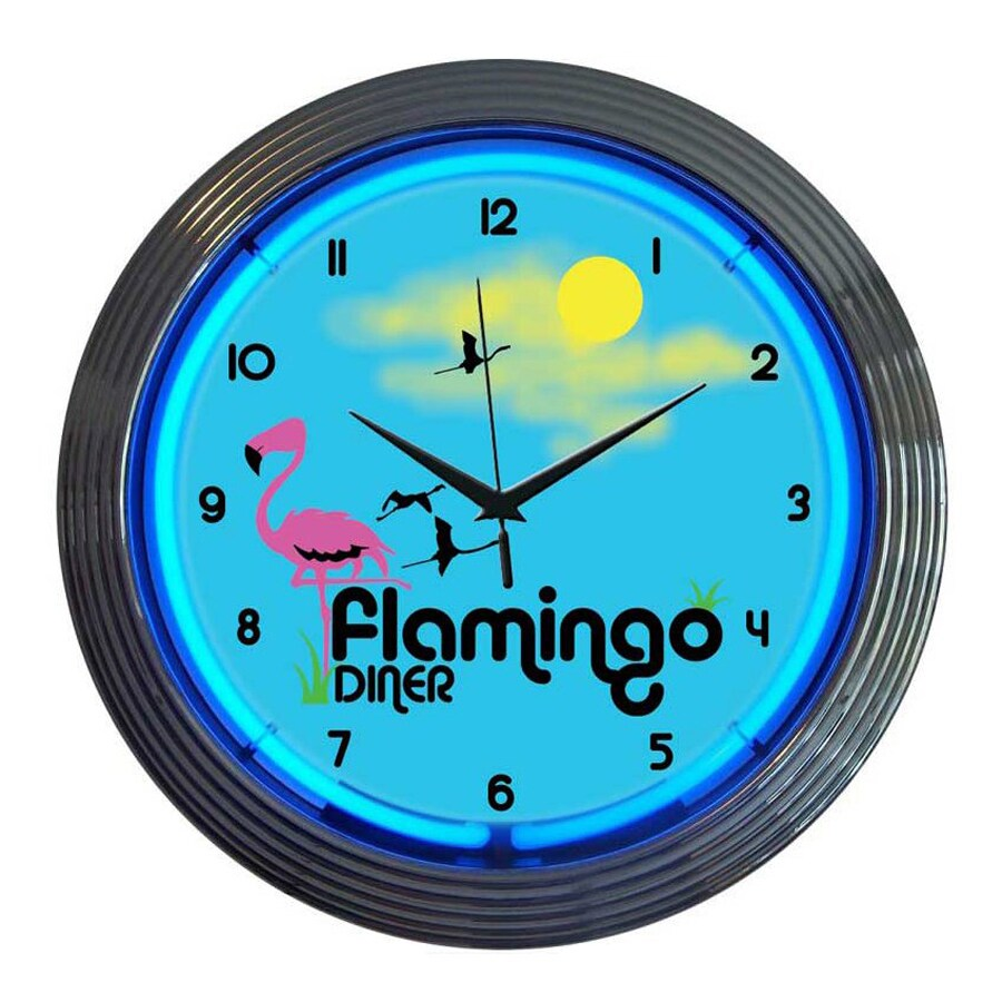 Neonetics Flamingo Diner Analog Round Indoor Wall Clock