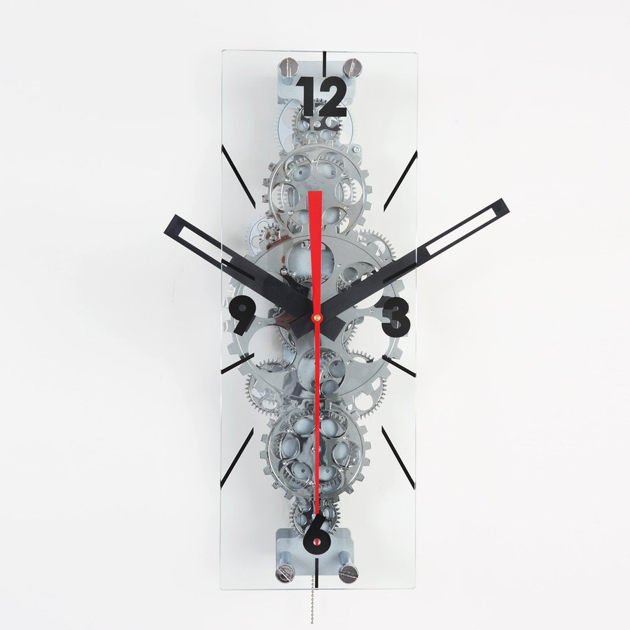 Maple's Moving Gear Analog Rectangle Indoor Wall Clock